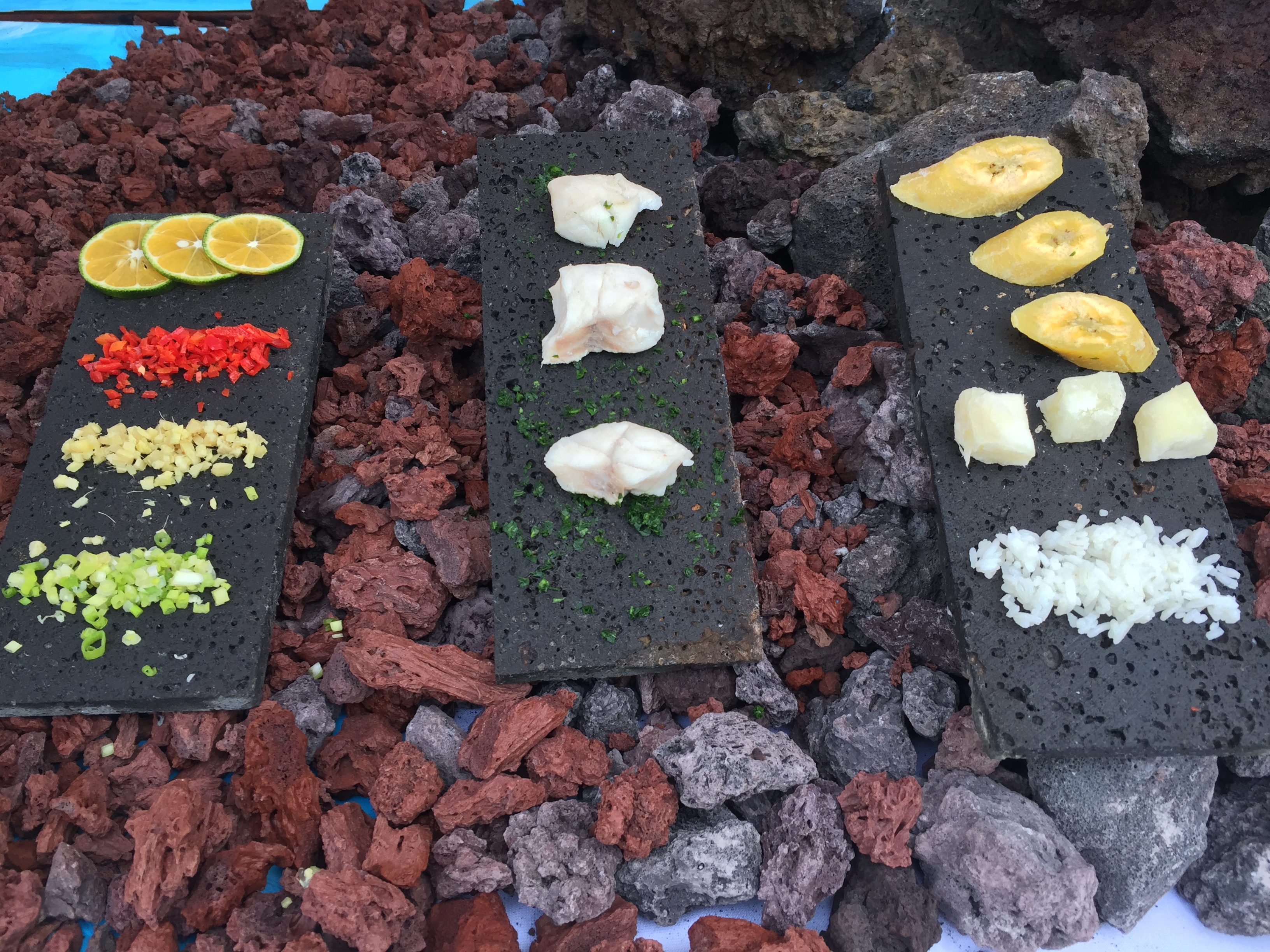 Local food on display over volcanic soil