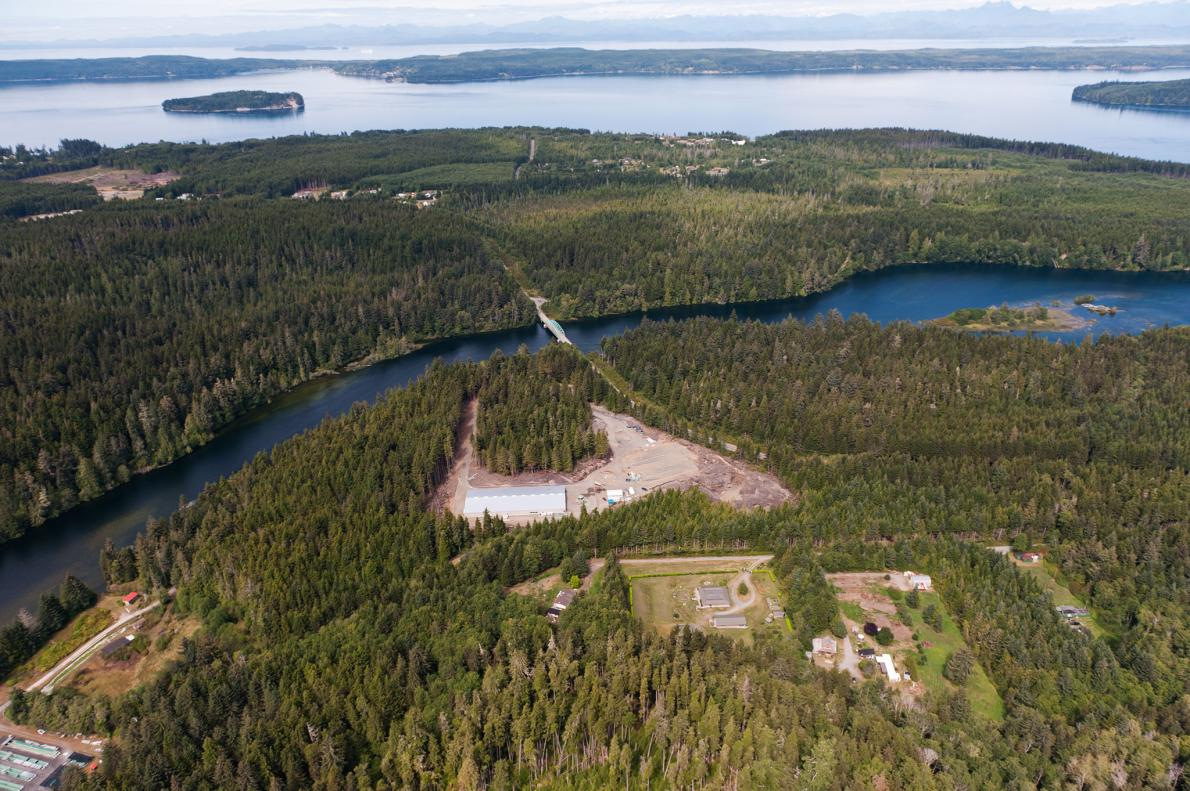 The only land-based salmon farm in British  Columbia, Kuterra is considered an eco-friendly alternative to  traditional aquaculture. The farm recycles its water, converts its waste  into fertilizer, and feeds its salmon mainly grains and soy.