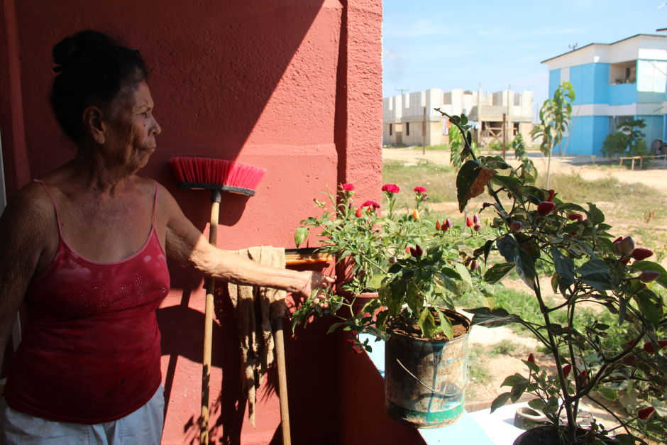 Dilcia Edreida Alarcon in the government housing where she lives now. (Photo: Mallory Pickett)